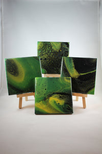 "Set of 4, 4"" x 4"" hand painted coasters - ""Emerald Kiss"""