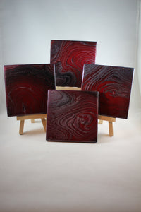 "Set of 4, 4"" x 4"" hand painted coasters - ""Mars"""