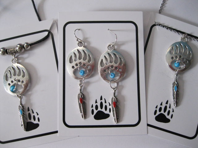 Bear Paw earrings and necklace with feather