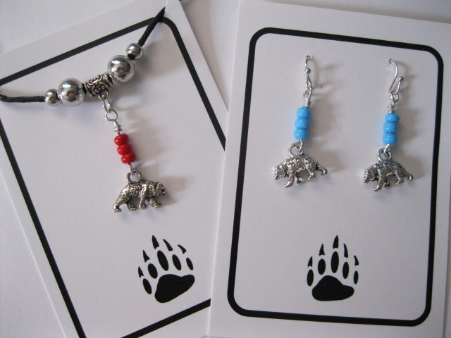 2 dimensional bear earrings and necklace