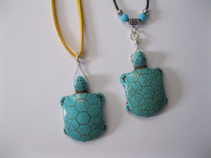 Faux Turquoise turtle necklace