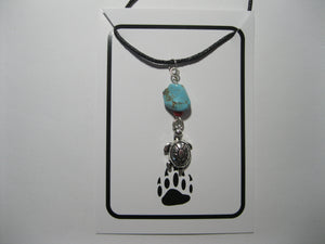 Turtle necklace with faux turquoise nugget