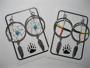 Large dreamcatcher earrings, Large medicine wheel earrings