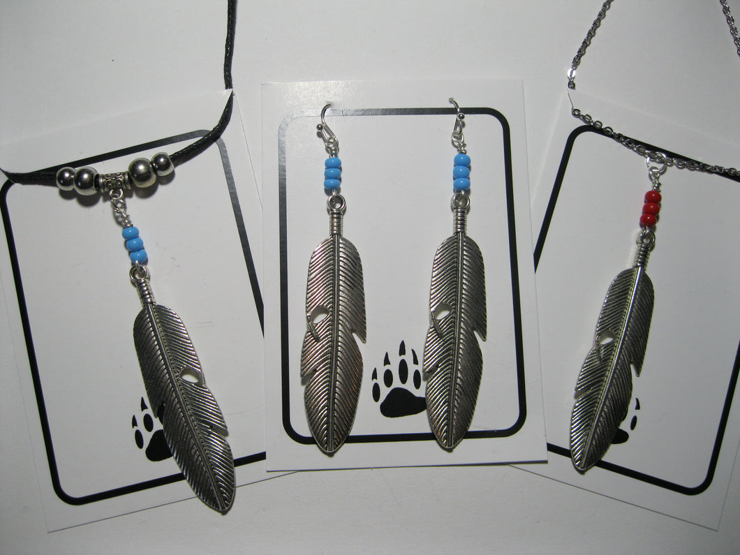 Large metal feather necklace and earrings