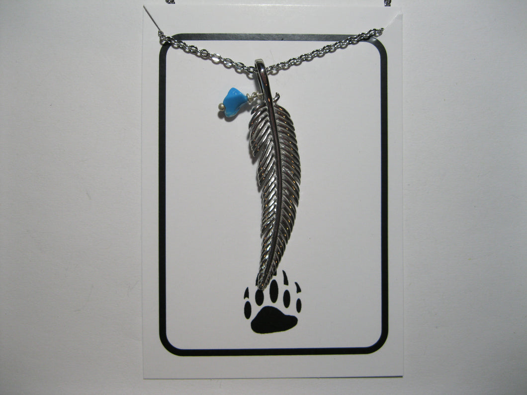 Stainless Steel feather necklace with faux turquoise chip