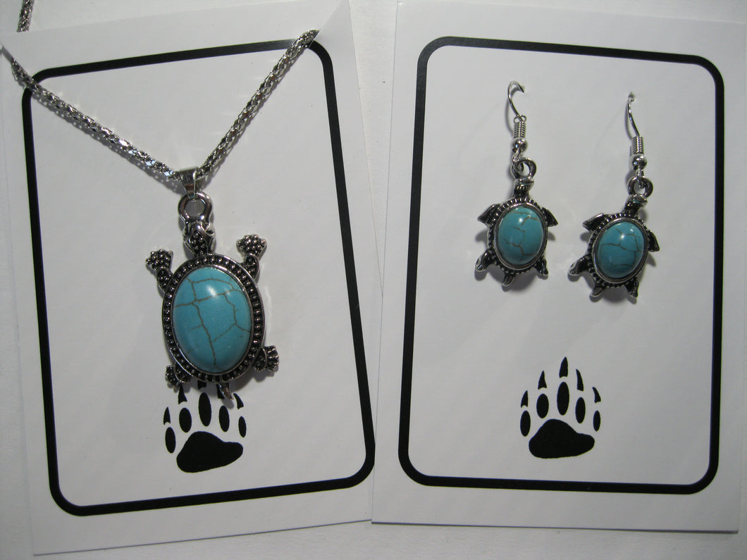 Inlaid faux turquoise turtle necklace and earrings