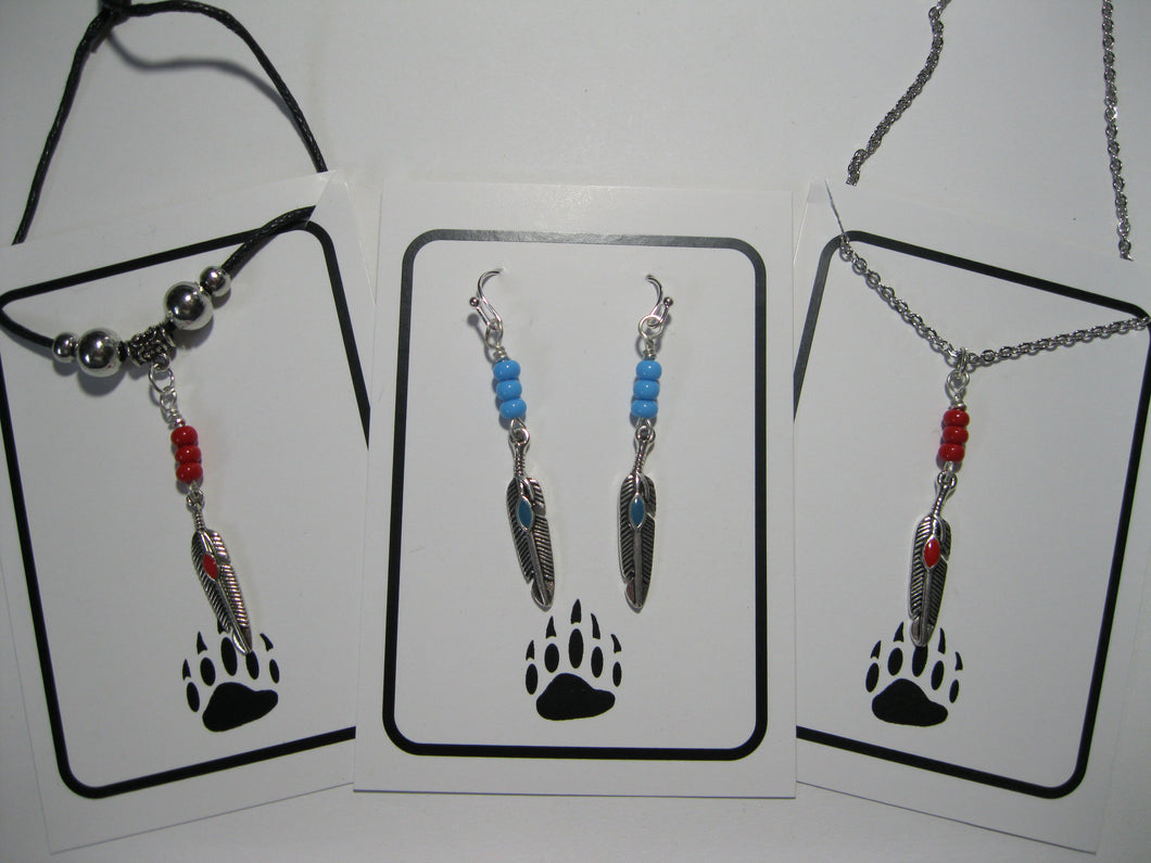 Mini feather necklace and earrings