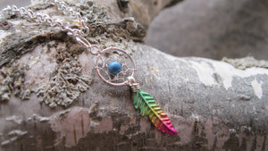 Sterling Silver multicolour feather dreamcatcher