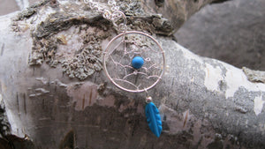 Sterling Silver turquoise feather dreamcatcher