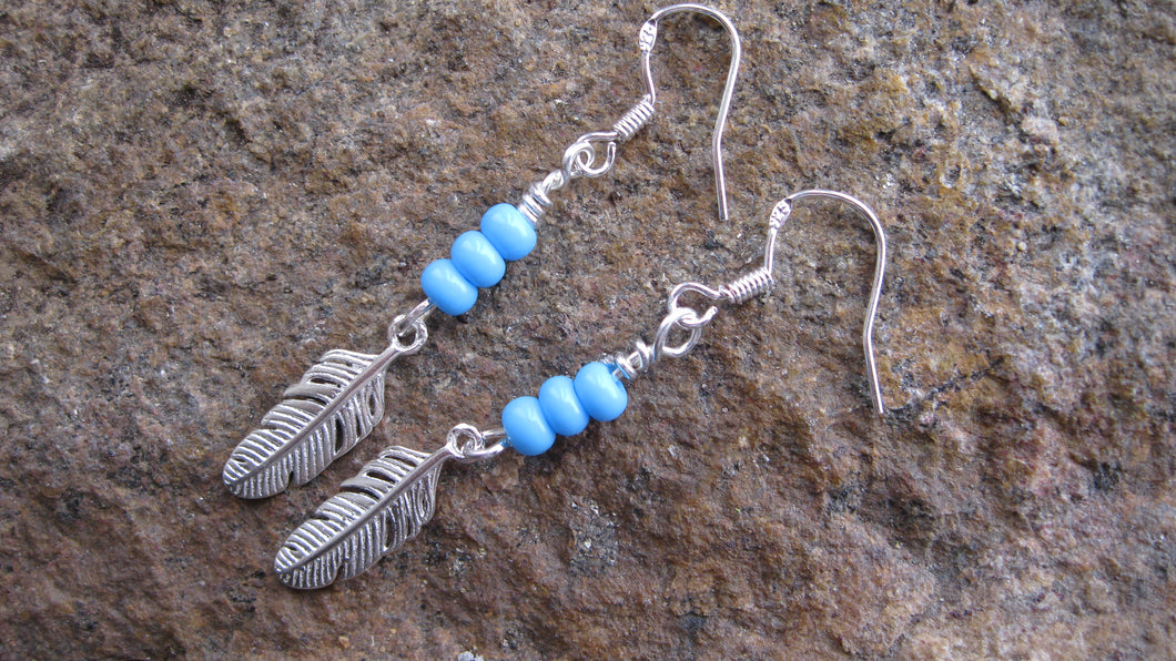 925 sterling silver feather 3 bead earrings 1 pr., Sterling Silver, Dreamcatcher jewellery