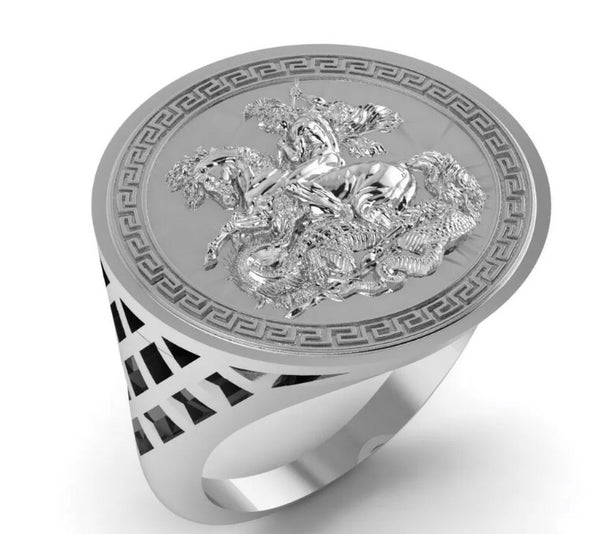 Silver Half Sovereign Ring