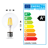 LED E27 Cap ES G80 8W Light Bulb Filament