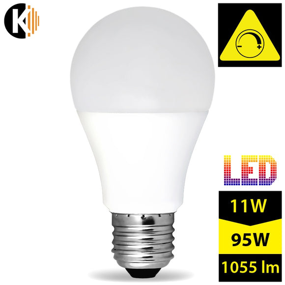 Dimmable Warm White, Milky LED Bulb E27 A60 11W