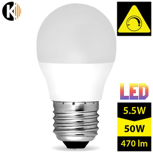 Dimmable Warm White, Milky LED Bulb E27 G45 5,5W