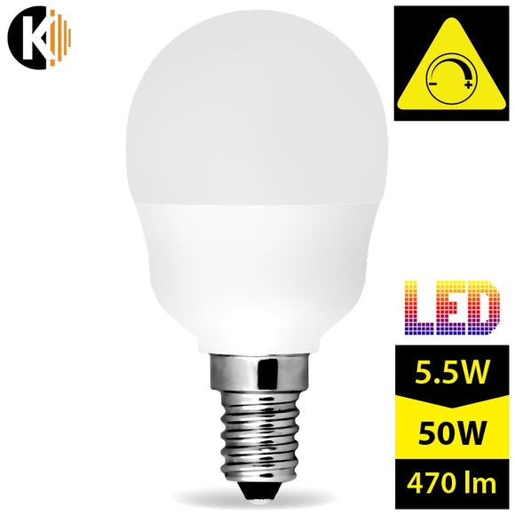 Dimmable Warm White, Milky LED Bulb E14 C45 5,5W