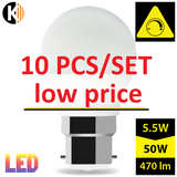 LED B22 G45 5,5W 2700k Warm White Dimmable MILK LUMI Bulb SET, 10 PCS