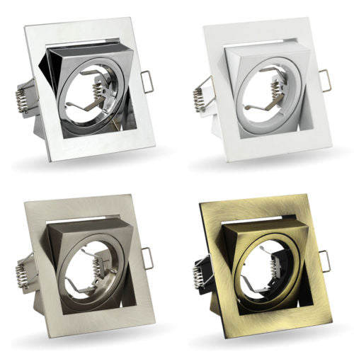 Spot K-23 240V GU10 LED Tilted Ceiling Light, Square Downlight Recessed Fitting