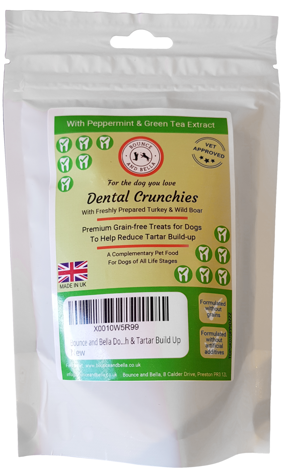 Bounce and Bella Dog Breath Freshener & Dental Care - Dental Crunchies (68g pack)