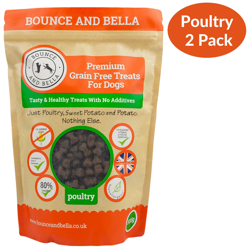 A Two-Pack of Grain-Free Poultry Training Treats for Dogs. Two Pack includes Poultry and Fish Training Treats.