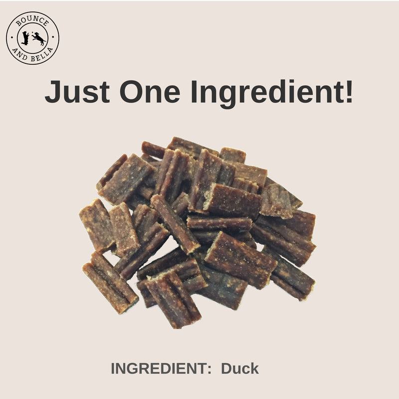 An infographic with the centre image of a pile of Duck Nibbles. Underneath the pile, it states 'Just One Ingredient - Duck!'