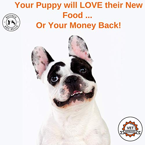 An infographic with a bulldog looking up towards the camera. White background with the caption above stating 'Your Puppy will LOVE their new food or your money back!'