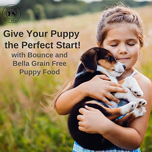 A young girl standing in the field with her beagle puppy in her arms smiling. Beside is the caption 'Give Your Puppy the Perfect Start with Bounce and Bella Grain Free Puppy Food.