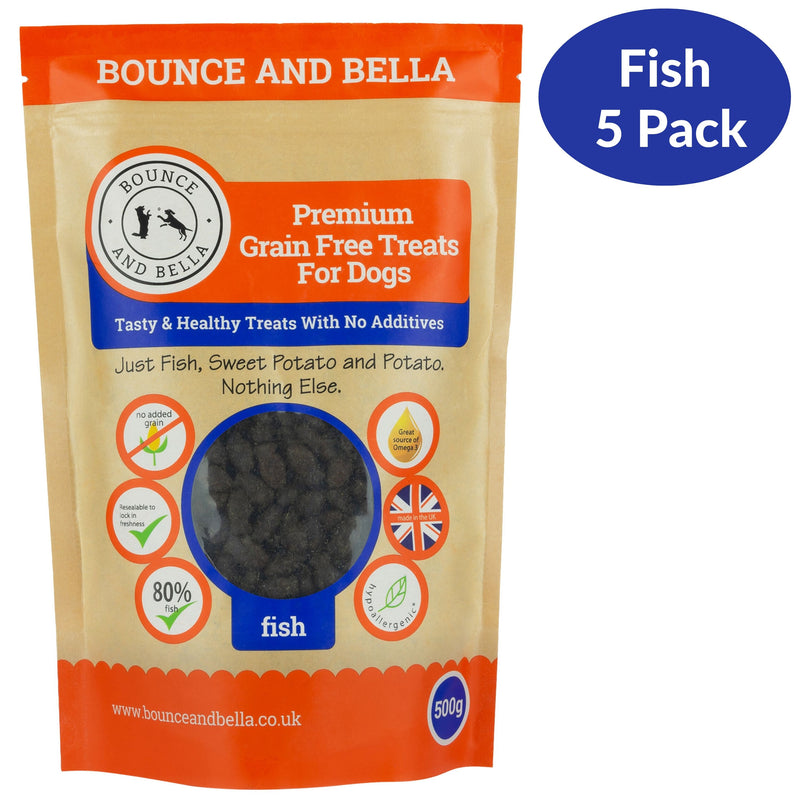 A Five-Pack of Grain-Free Fish Training Treats for Dogs.