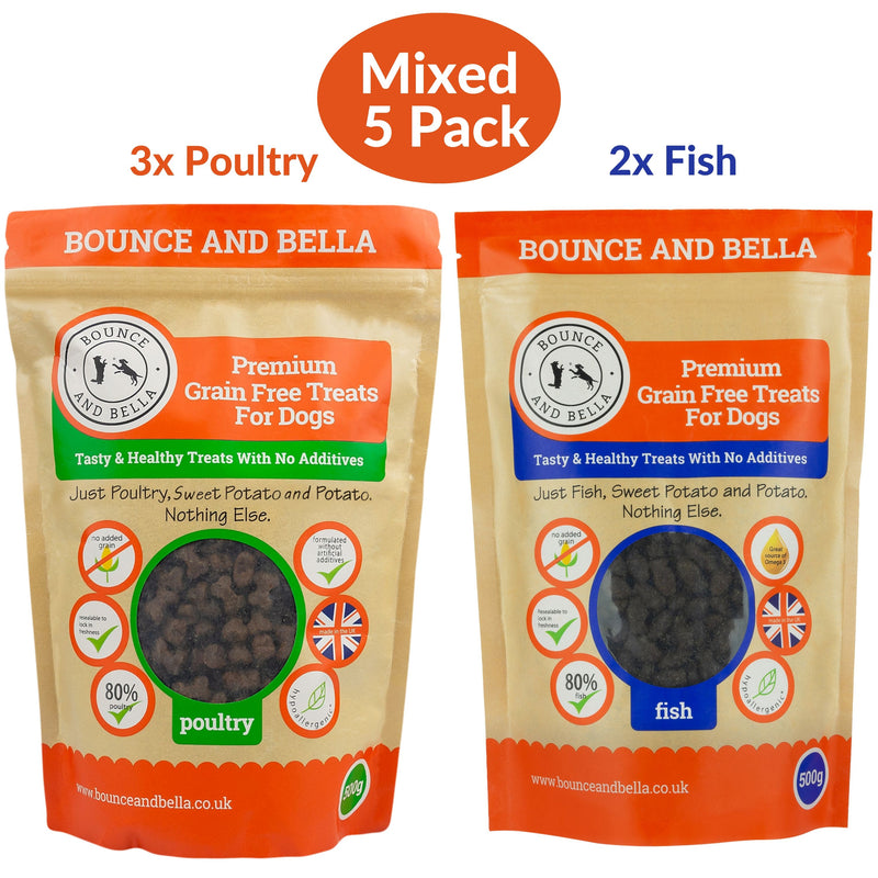 A Five-Pack of Grain-Free Poultry and Fish Training Treats for Dogs. Three Packs are Grain-Free Poultry Treats and Two Packs are the Grain-Free Fish Training Treats.