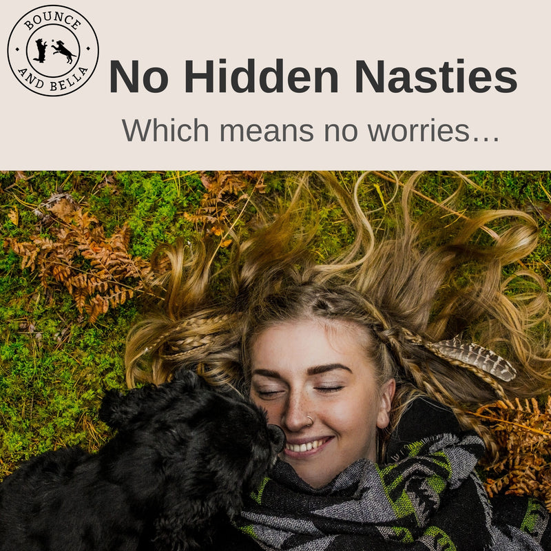 Beef Nibbles: An infographic, the main image of a girl lying back in the grass with her dog cuddled into her. Above the image is text stating No Hidden Nasties Which Means No Worries.