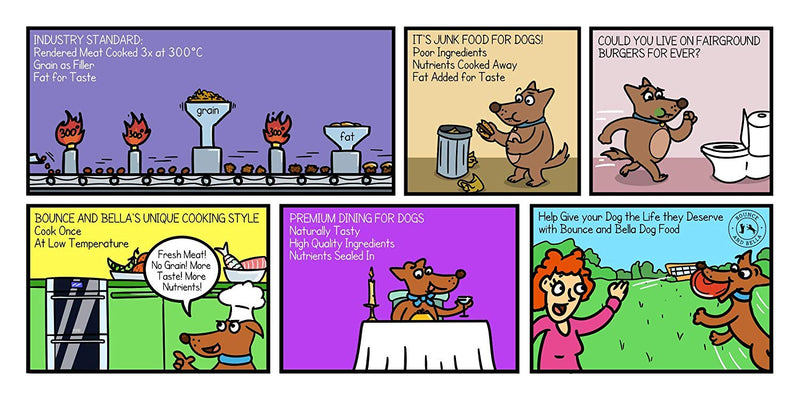Comic Strip for Senior Tasty Trout and Veg Grain-Free Complete Dog Food.