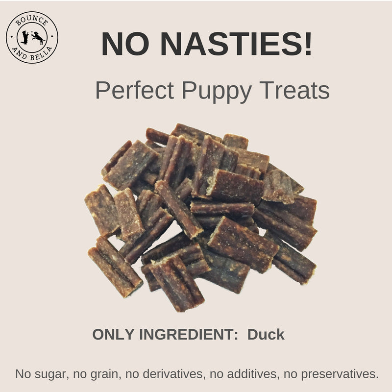 An Infographic, at the centre, is a pile of Duck Nibbles. Surrounding the nibbles is text stating: No Nasties! Perfect Puppy Treats! Only Ingredient: Duck! No Sugar, No Grain, No Derivatives, No Additives, No Preservatives.