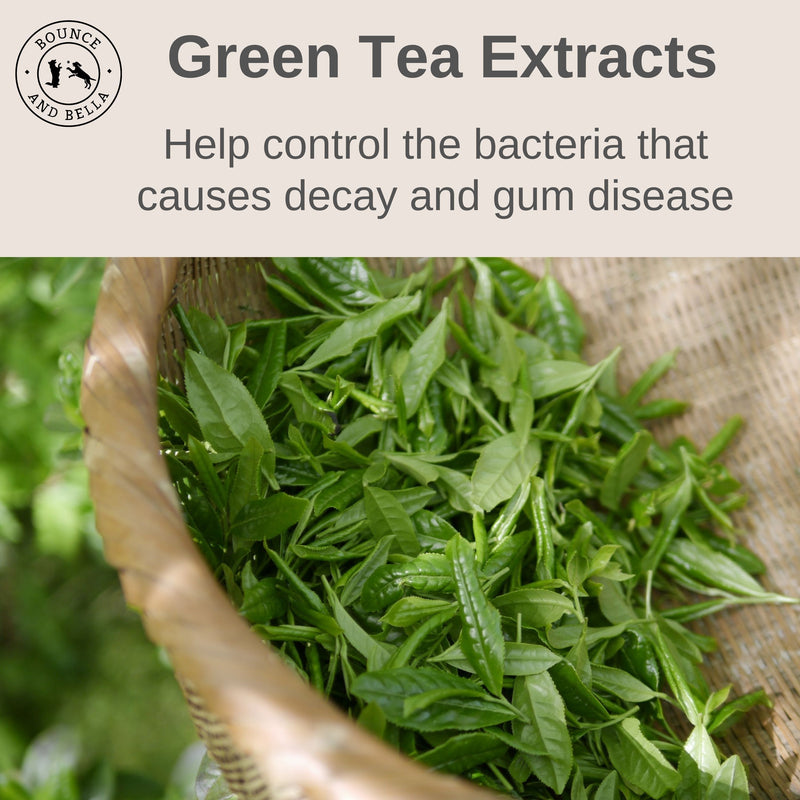 Green tea extracts to help control bacteria causing decay and gum disease.