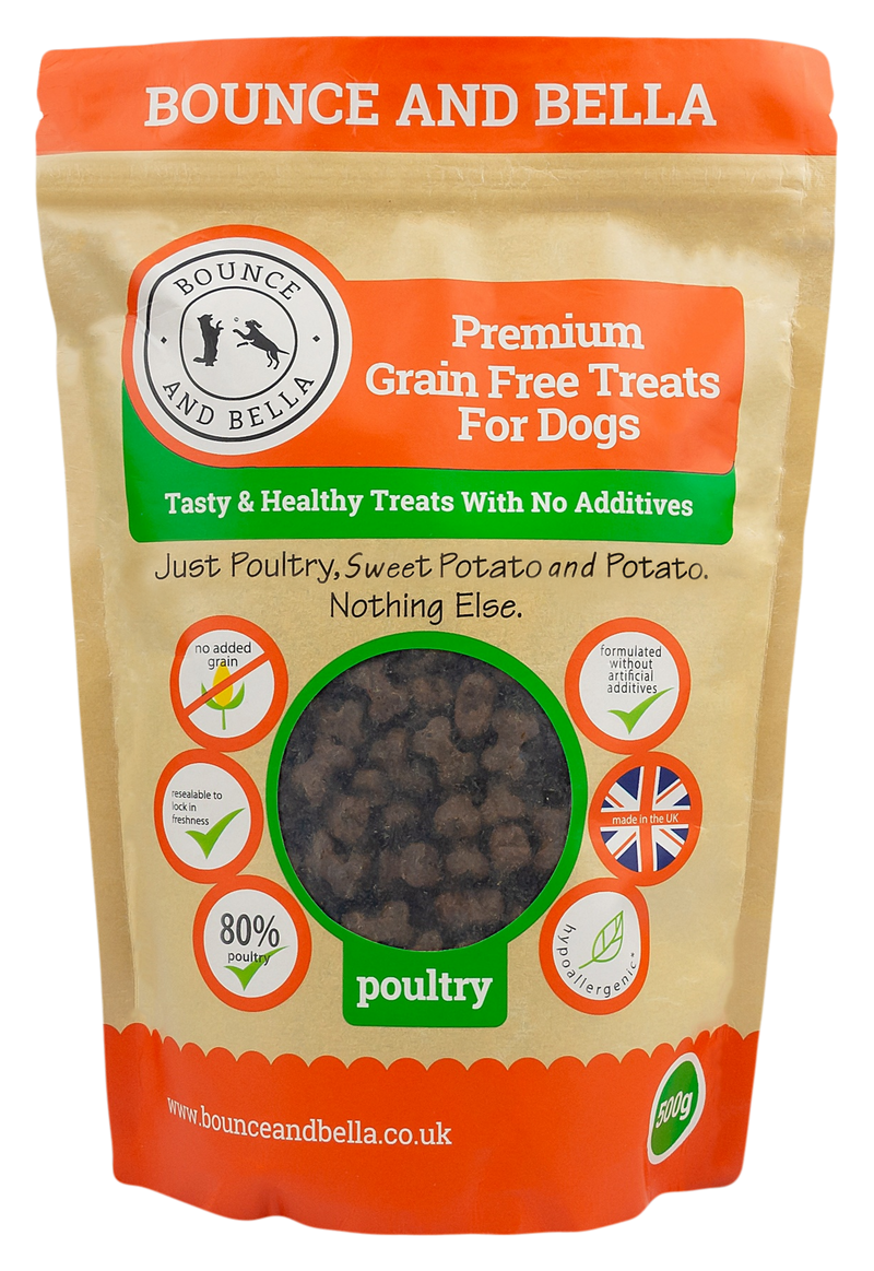 **Discounted Multipack** - 2 Packs of 500g for only £13.98 (save £4 on the normal price!) - Grain Free Premium Poultry Treats for Dogs