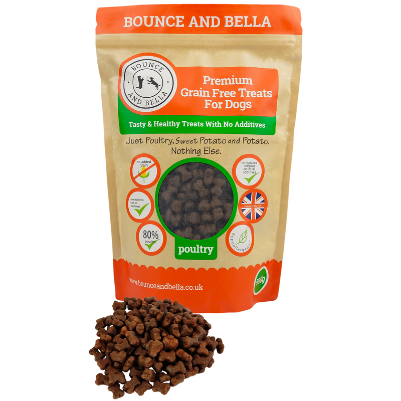 **Discounted Multipack** - 3 Packs of 500g for only £17.97 (save £9 on the normal price!) - Grain Free Premium Poultry Treats for Dogs