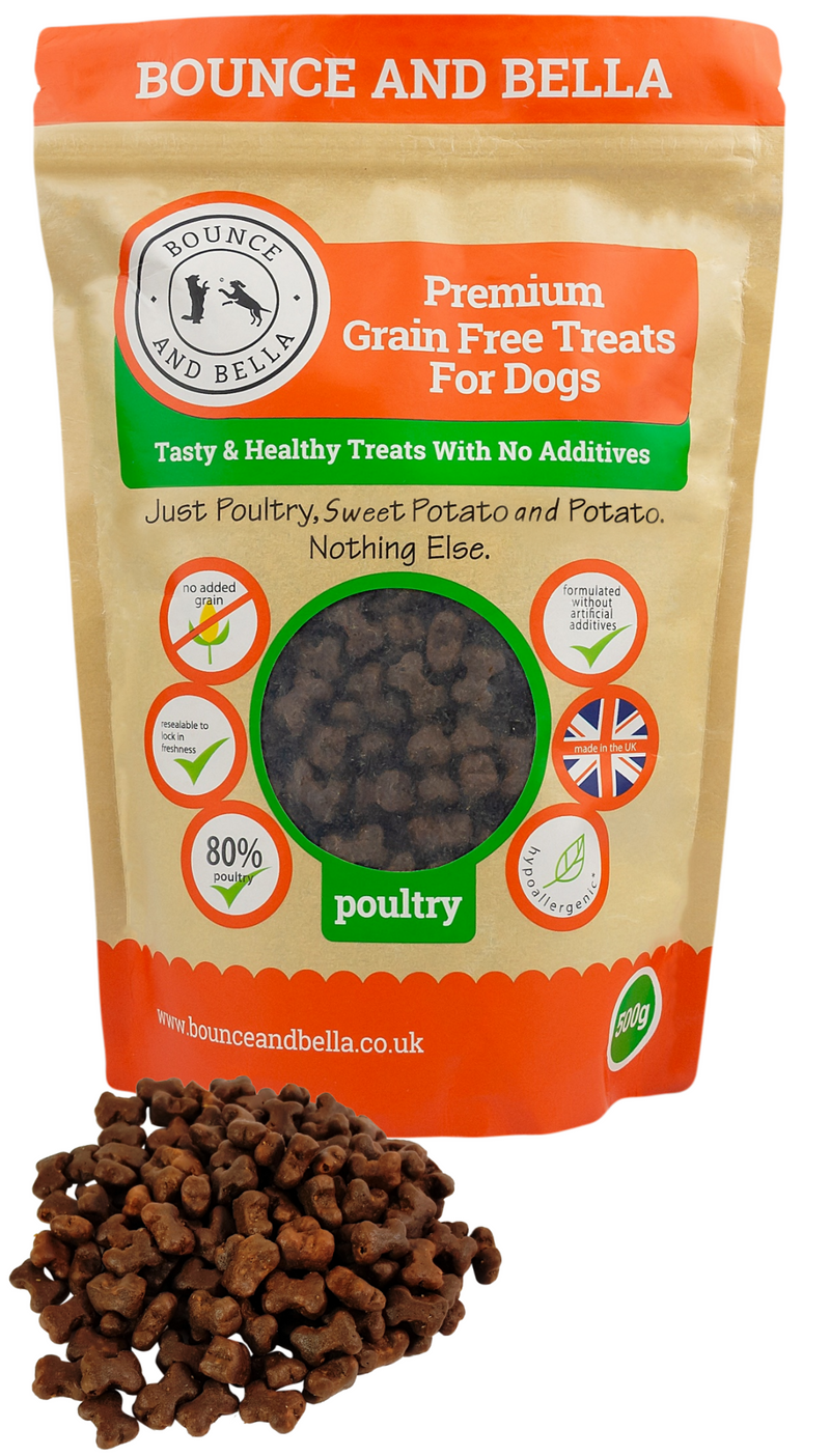 A packet of Grain-Free Poultry Training Treats with a small pile of treats in front. The Grain-Free Poultry Treats are shaped like bones.