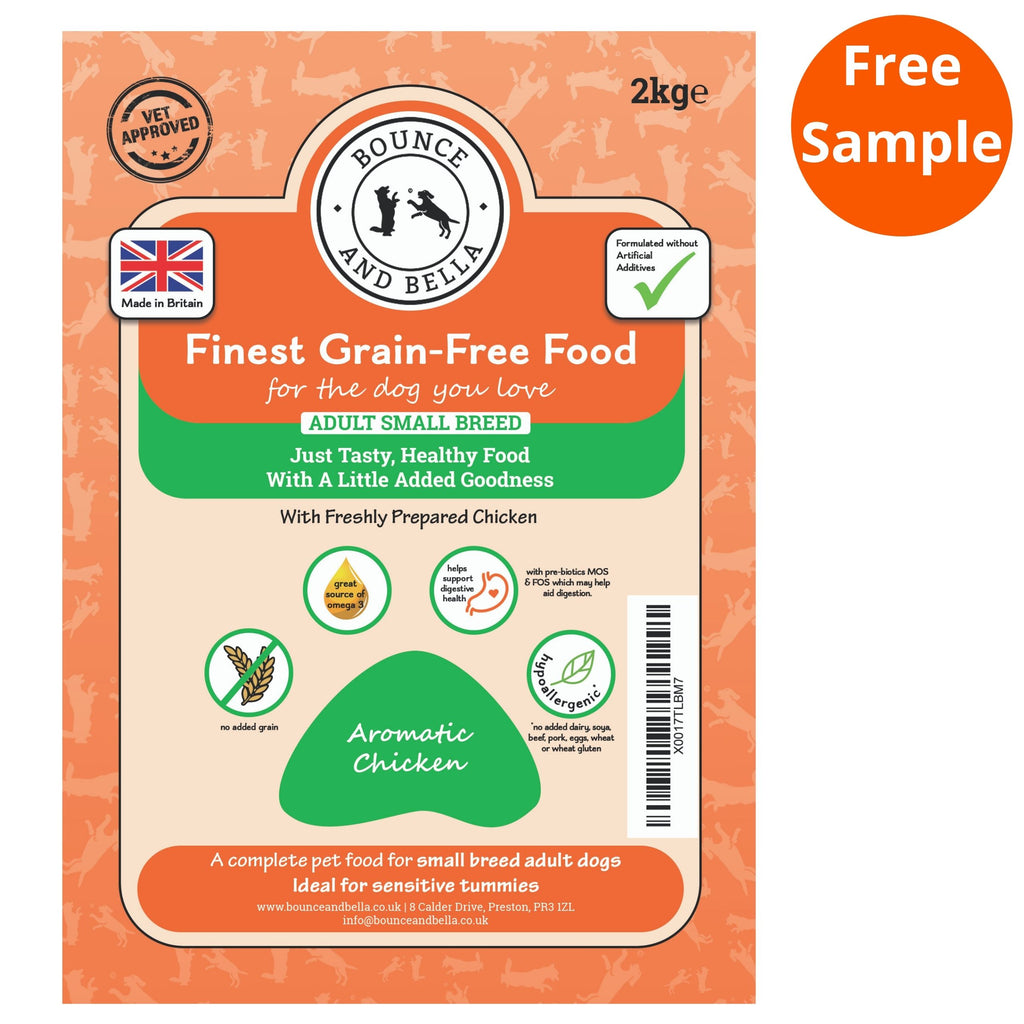 The packaging for the Small Breed Aromatic Chicken Grain-Free Complete Dry Dog Food.