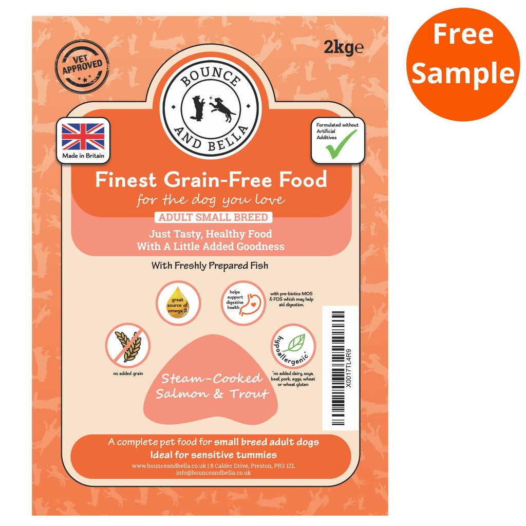 The packaging for the Small Breed Steam Cooked Salmon Grain-Free Complete Dry Dog Food.