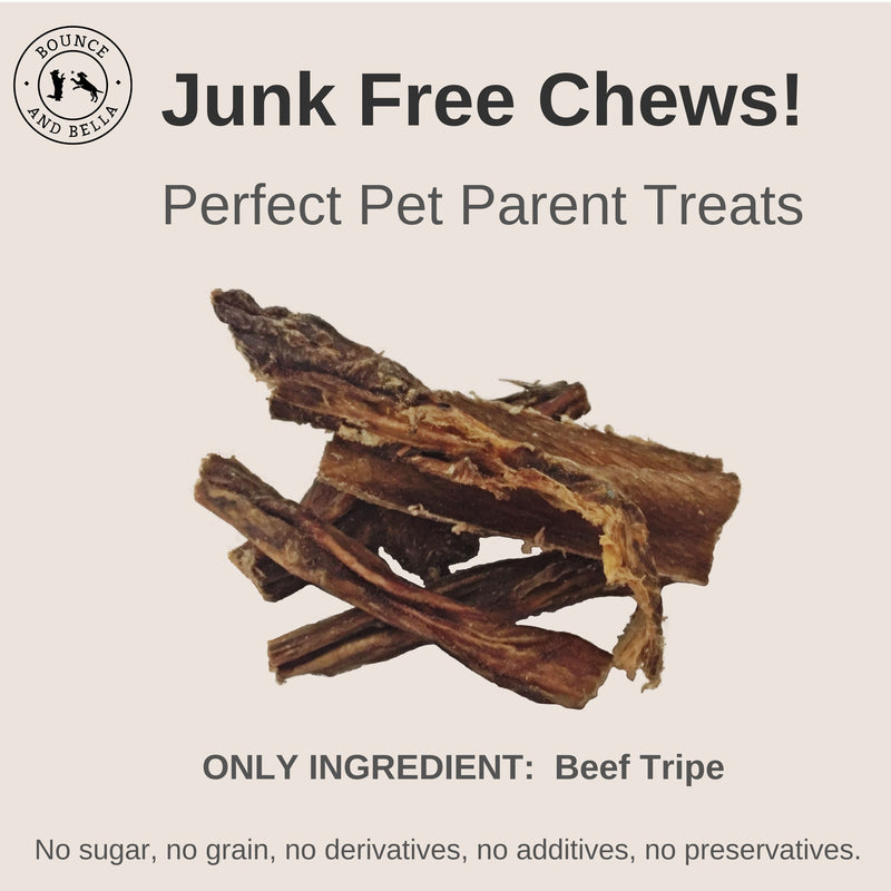 An infographic featuring the main image as a pile of Sprats. Above the image is the title: Junk Free Chews! Perfect Pet Parent Treats Below the image is the caption: Only Ingredient: Beef Tripe. 0% Junk - No Grain or Gluten, No Sugar, No Additives and No Preservatives.