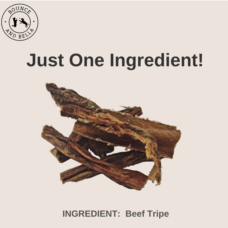 An infographic featuring the main image as a pile of Beef Tripe. Above the image is the title: Just One Ingredient: Beef tripe