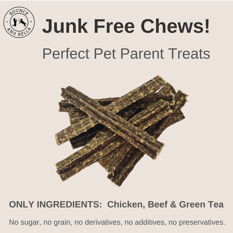 **Discounted Multipack** - 5 Packs for only £22.95 (save £7 on the normal price) - Natural Dog Chews - Chicken, Beef and Green Tea