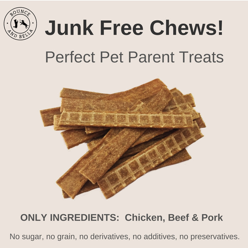 **Discounted Multipack** - 5 Packs for only £22.95 (save £7 on the normal price) - Natural Dog Chews - Chicken, Beef and Pork Strips