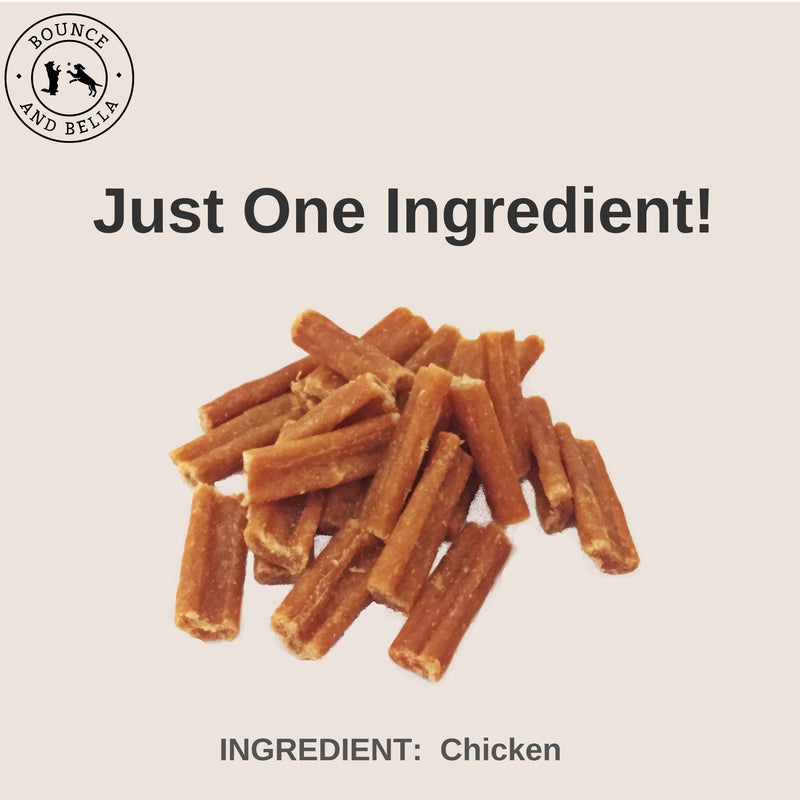An infographic with the centre image of a pile of Chicken Nibbles. Underneath the pile, it states 'Just One Ingredient - Chicken!'