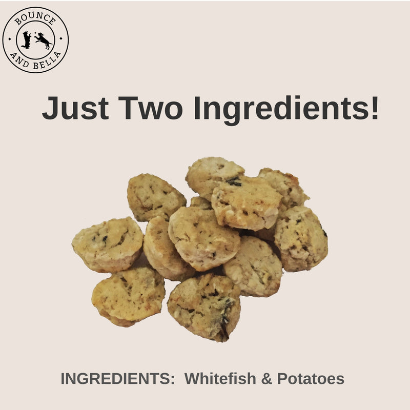An infographic with the centre image of a pile of Whitefish and Potato Cookies. Underneath the pile, it states 'Just Two Ingredients - Whitefish and Potatoes!'