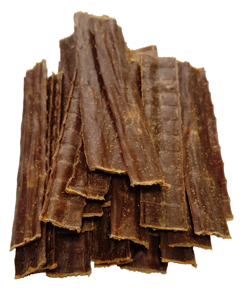 A close-up pile of Beef Chews - Natural Dog Chews - 100% Pure Beef Air-Dried Treats.