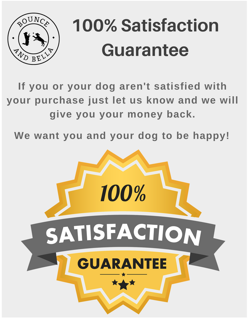 An infographic highlighting Bounce and Bella's 100% No Quibble Guarantee.