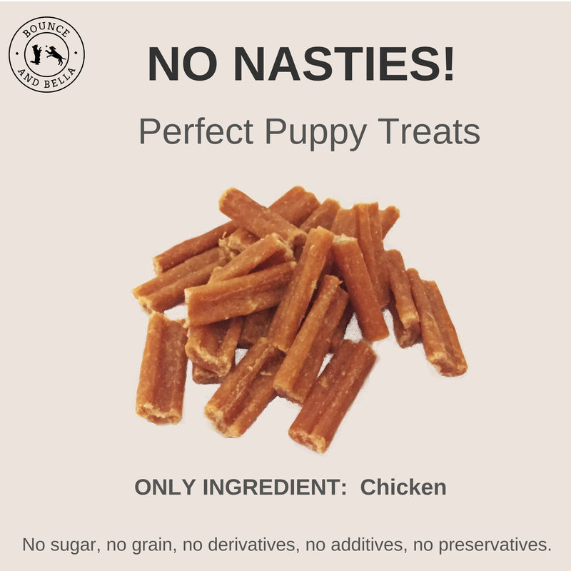 An Infographic, at the centre, is a pile of Chicken Nibbles. Surrounding the nibbles is text stating: No Nasties! Perfect Puppy Treats! Only Ingredient: Chicken! No Sugar, No Grain, No Derivatives, No Additives, No Preservatives.