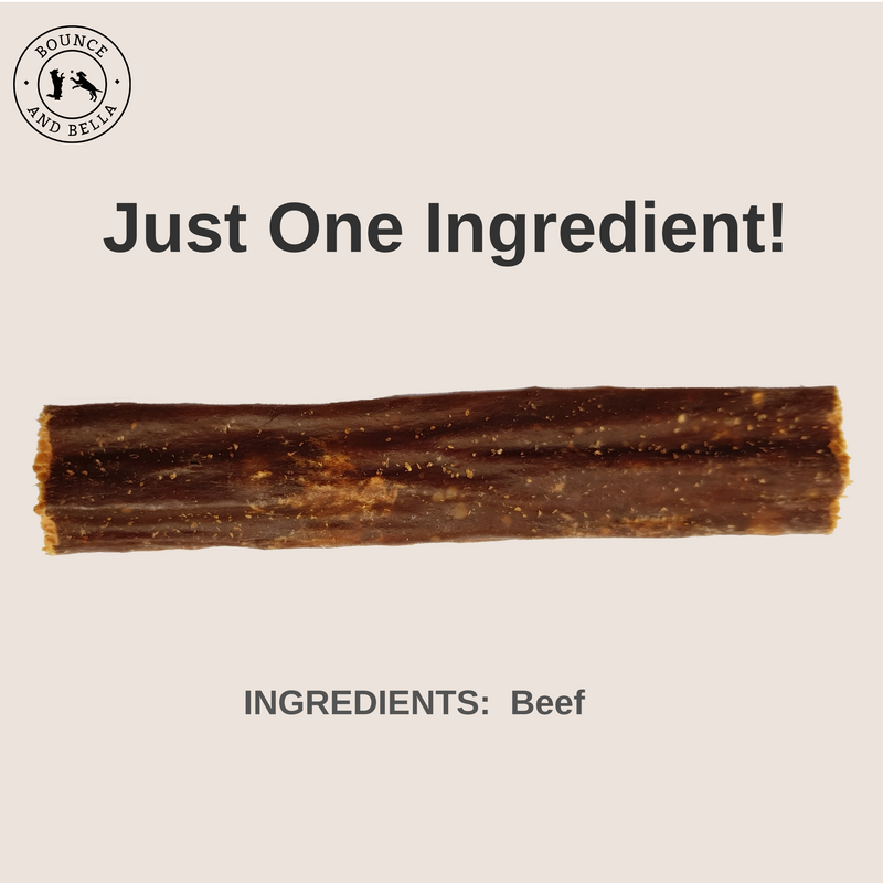 An image of a Beef Chew. Above the image is the text Just One Ingredient! Ingredients: Beef