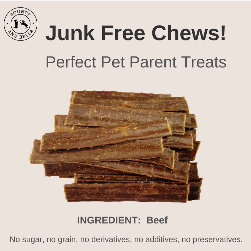 An infographic featuring the main image as a pile of Beef Chews. Above the image is the title: Junk Free Chew! Perfect Pet Parent Treats Below the image is the caption: Ingredients: Beef. 0% Junk - No Grain or Gluten, No Sugar, No Additives and No Preservatives.