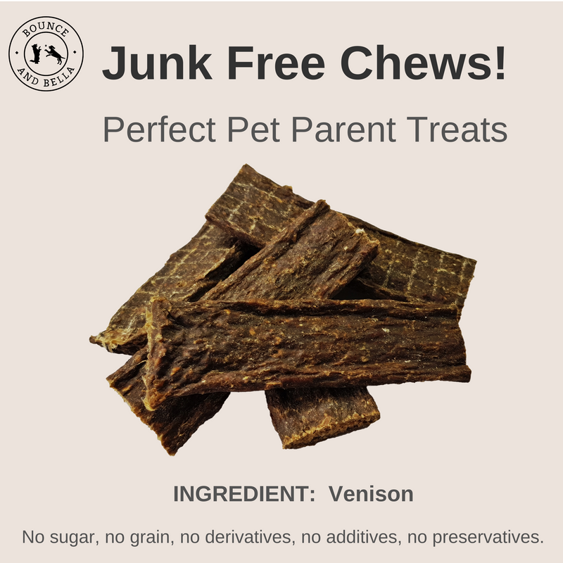An infographic featuring the main image as a pile of Venison Chews. Above the image is the title: Junk Free Chews! Perfect Pet Parent Treats. Below the image is the caption: Only Ingredient: Venison. 0% Junk - No Grain or Gluten, No Sugar, No Additives and No Preservatives.
