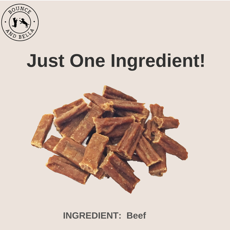 An infographic with the centre image of a pile of Beef Nibbles. Underneath the pile, it states 'Just One Ingredient - Beef!'